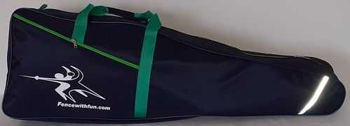 Fencing sack dark blue  - green carrier straps